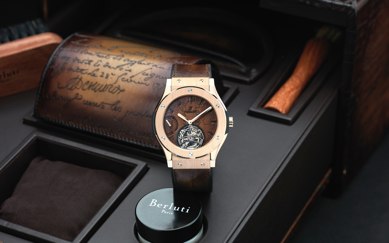 Hublot Classic Fusion Tourbillon Berluti Scritto King Gold y All Black, ADN innovador