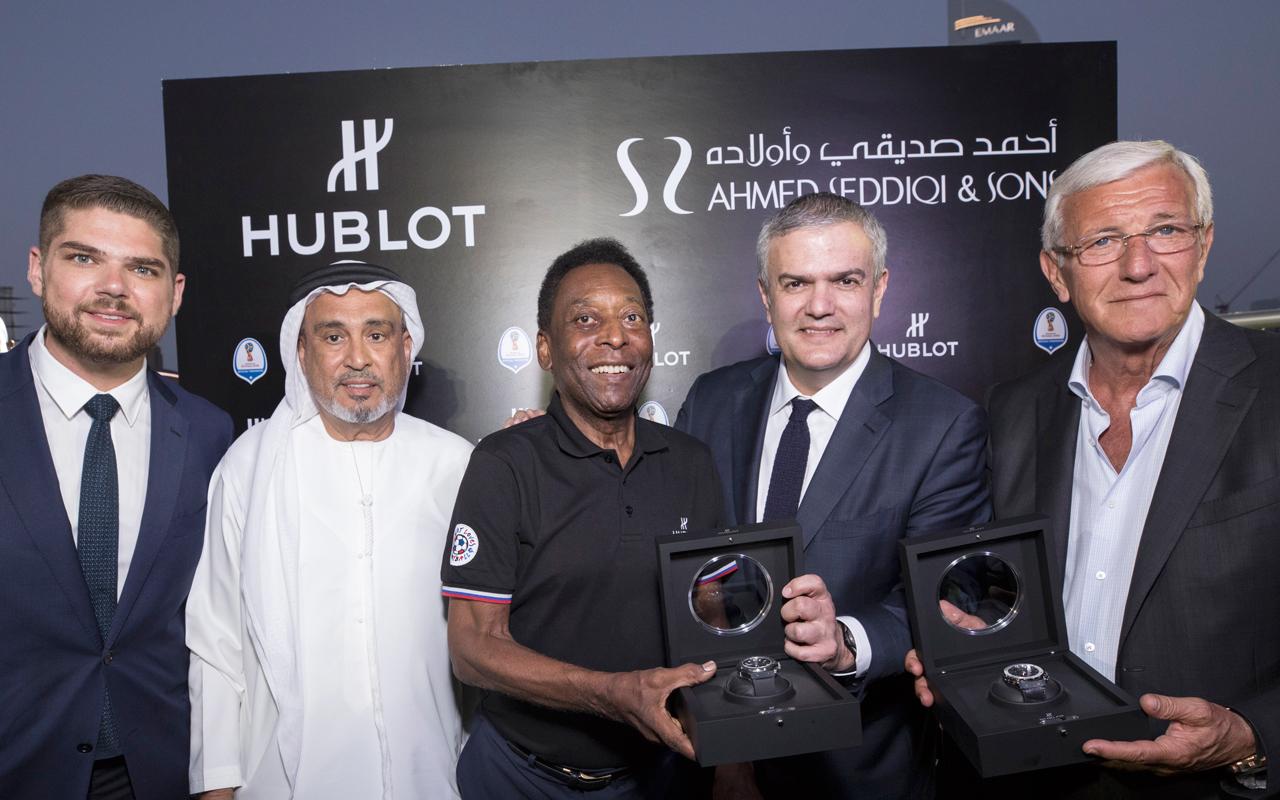 Pelé y Marcello Lippi, en el equipo de Hublot