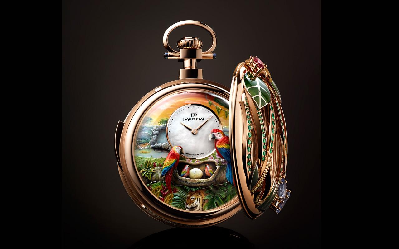 Jaquet Droz Parrot Repeater Pocket Watch, joya autómata