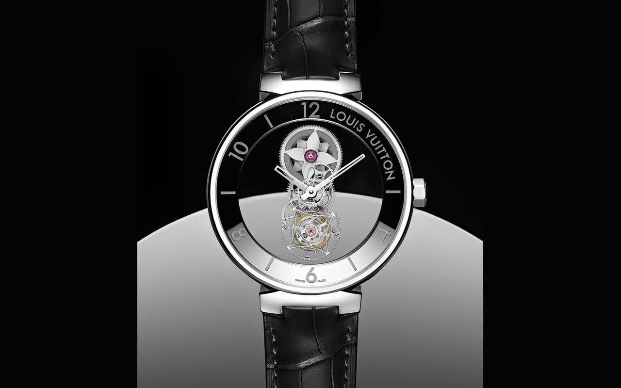 Louis Vuitton Tambour Moon Mystérieuse Flying Tourbillon, enigma en platino